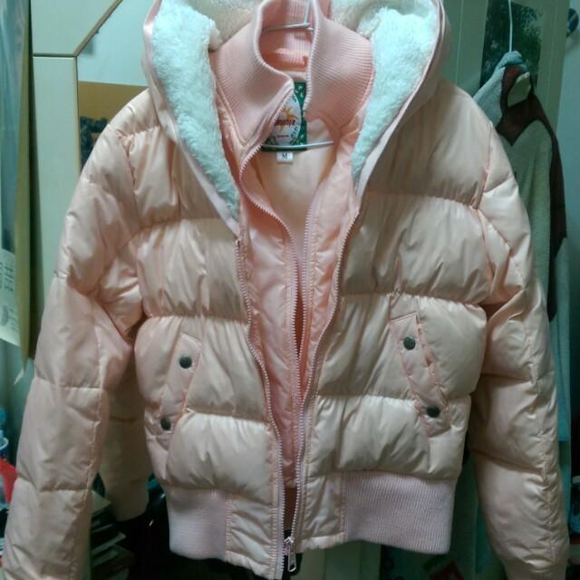 Bobson粉橘色羽絨外套