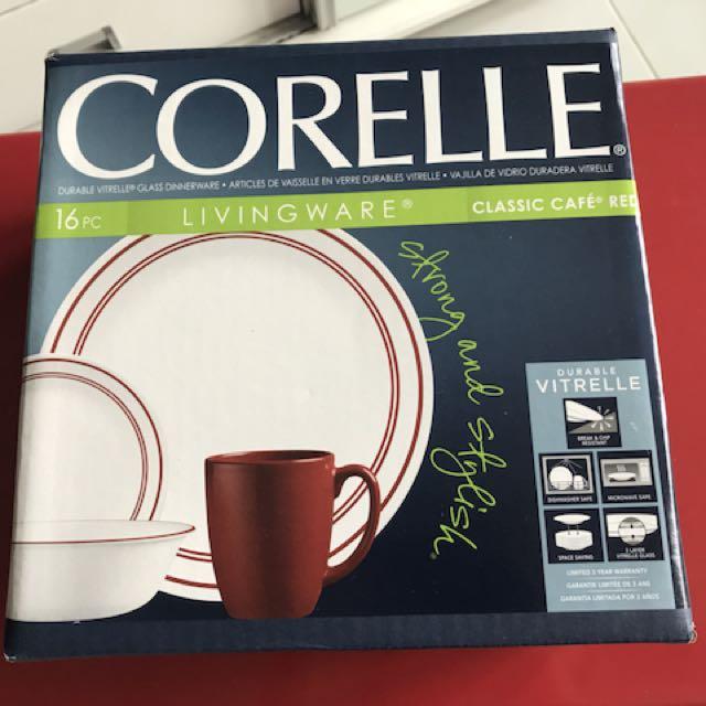 Brand New Corelle 16pc Livingware Classic Cafe Red Home Appliances