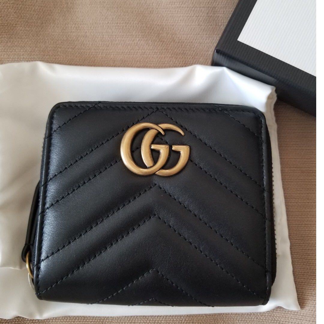 fa0af9eb80c5 BRAND NEW GUCCI MARMONT GG COMPACT WALLET MATELASSE LEATHER IN ...