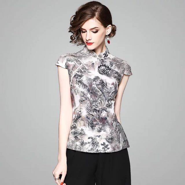23e5ab7349 Breathable linen fabrics modern cheongsam top with traditional Chinese ink  paintings scenery landscape prints plus size