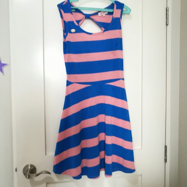 Candies Pink & Blue Striped Dress