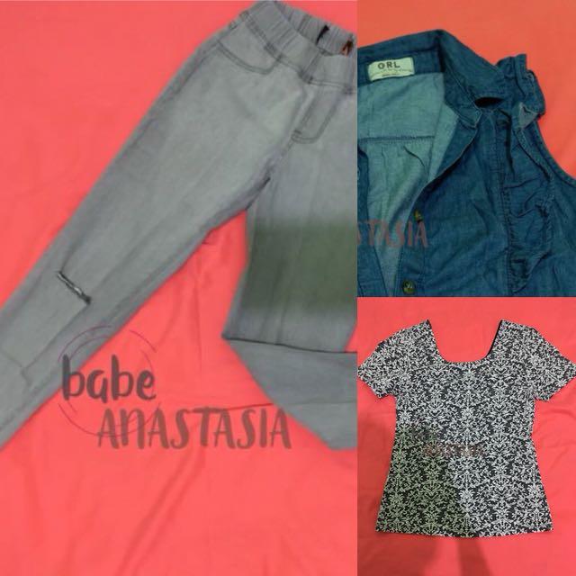 Celana jeans, kemeja jeans, monokrom shirt