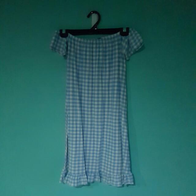 Checkered Short Sleeve Off The Shoulder Dress