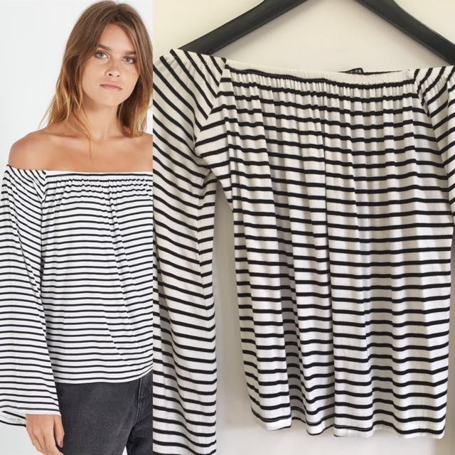 Cotton On Off Shoulder Stripe Free Ongkir