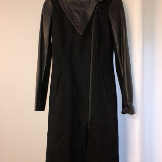 Danier wool long coat with leather detail black 3xs