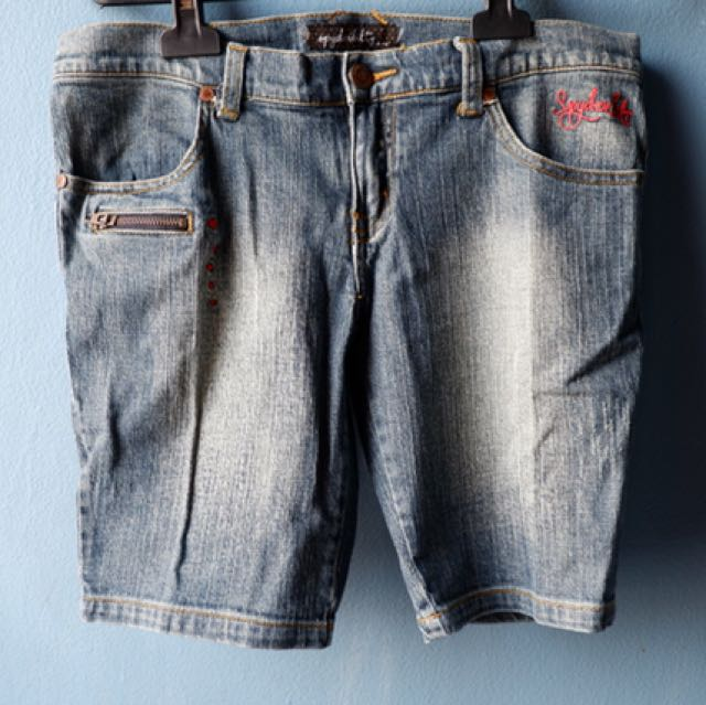 denim short pants by spiderbilt