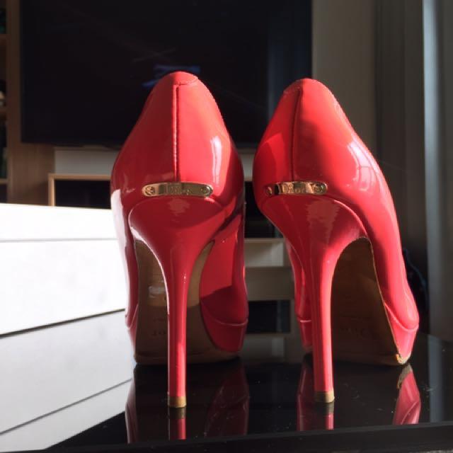 Dior真品漆皮小羊皮細跟高跟鞋-粉紅-37號