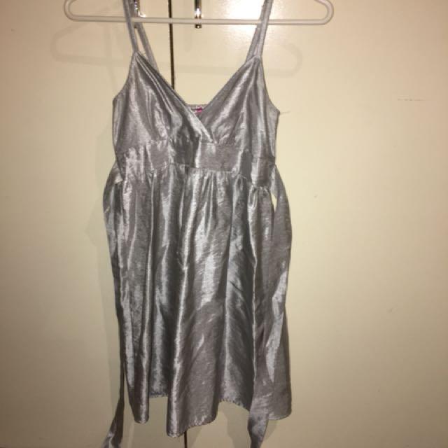Dotti silver flowy formal dress
