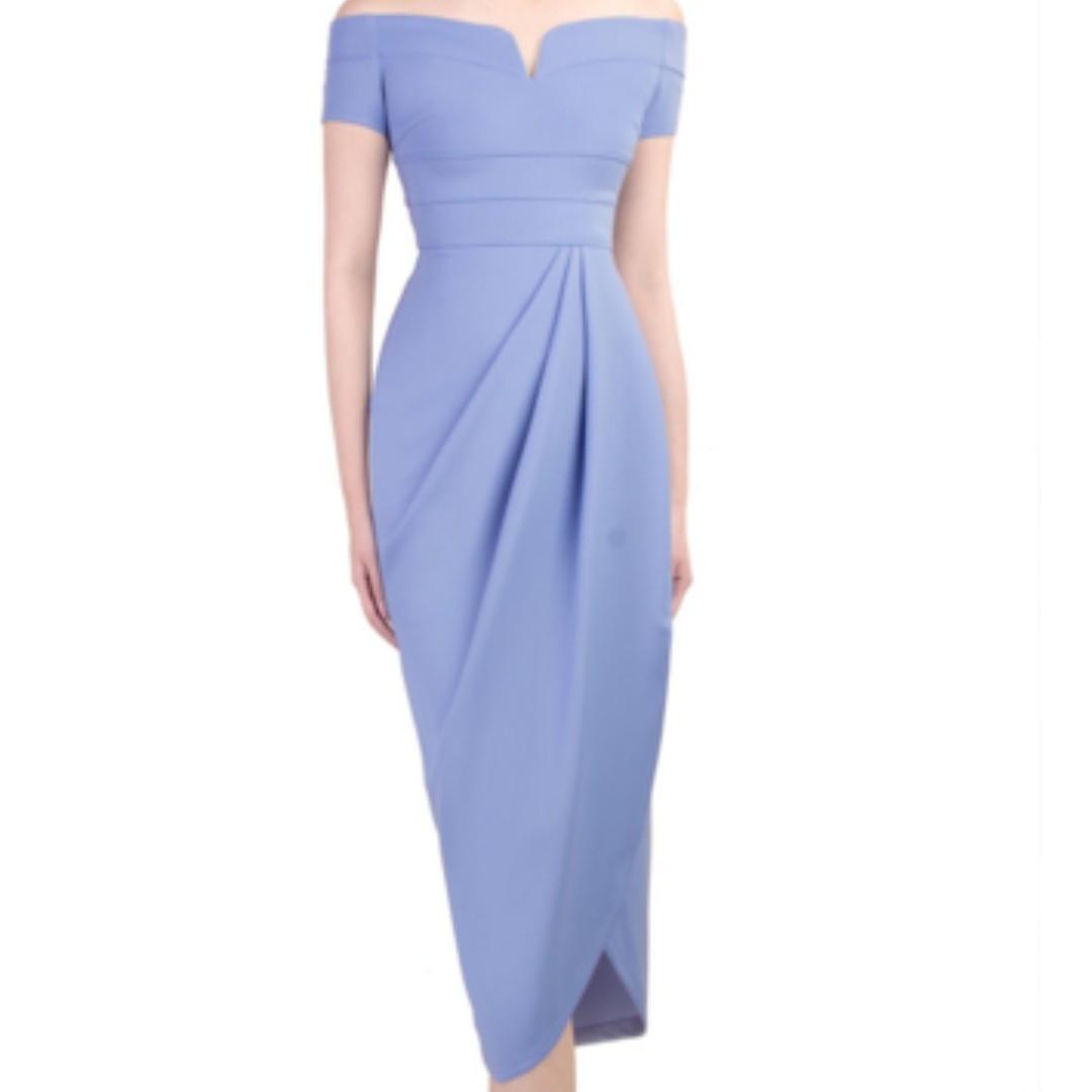 Powder Blue Knee Length Dresses