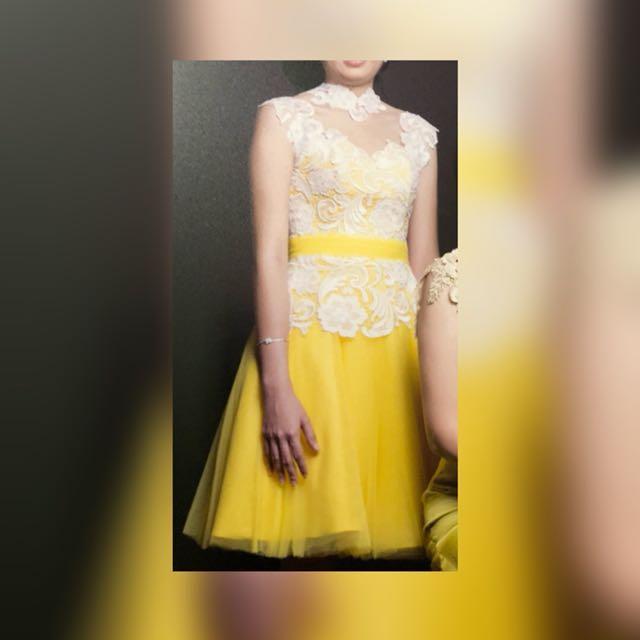 Dress Pesta Medium Yellow Brokat Putih