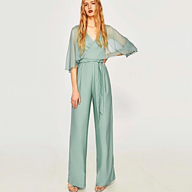 1c76332588 Elegant Zara mint green jumpsuit, Women's Fashion, Clothes, Rompers ...