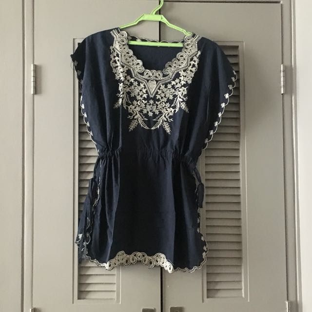 Embroidered summer top/ cover up