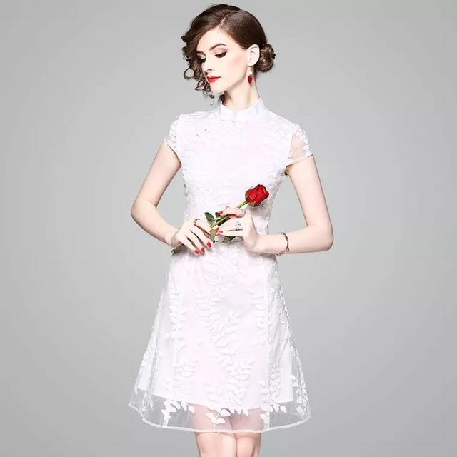 7f0694d0e2a Flared Qipao modern traditional Chinese costume cheongsam dress with a  embroidered mesh lace layer a shaped skirt formal white dress mini gown