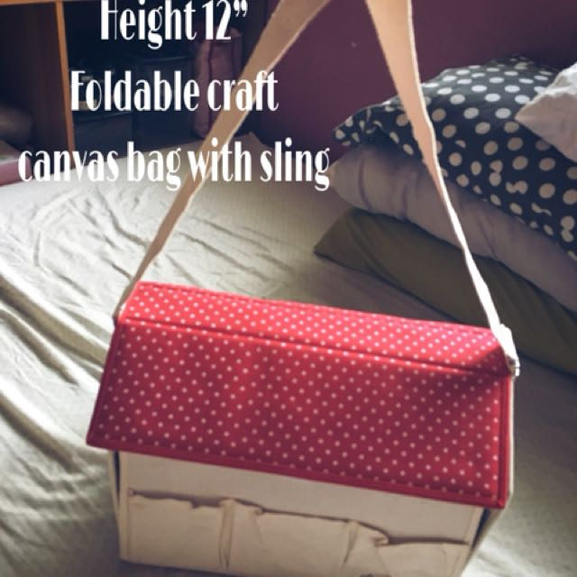 Foldable canvass craft box with sling