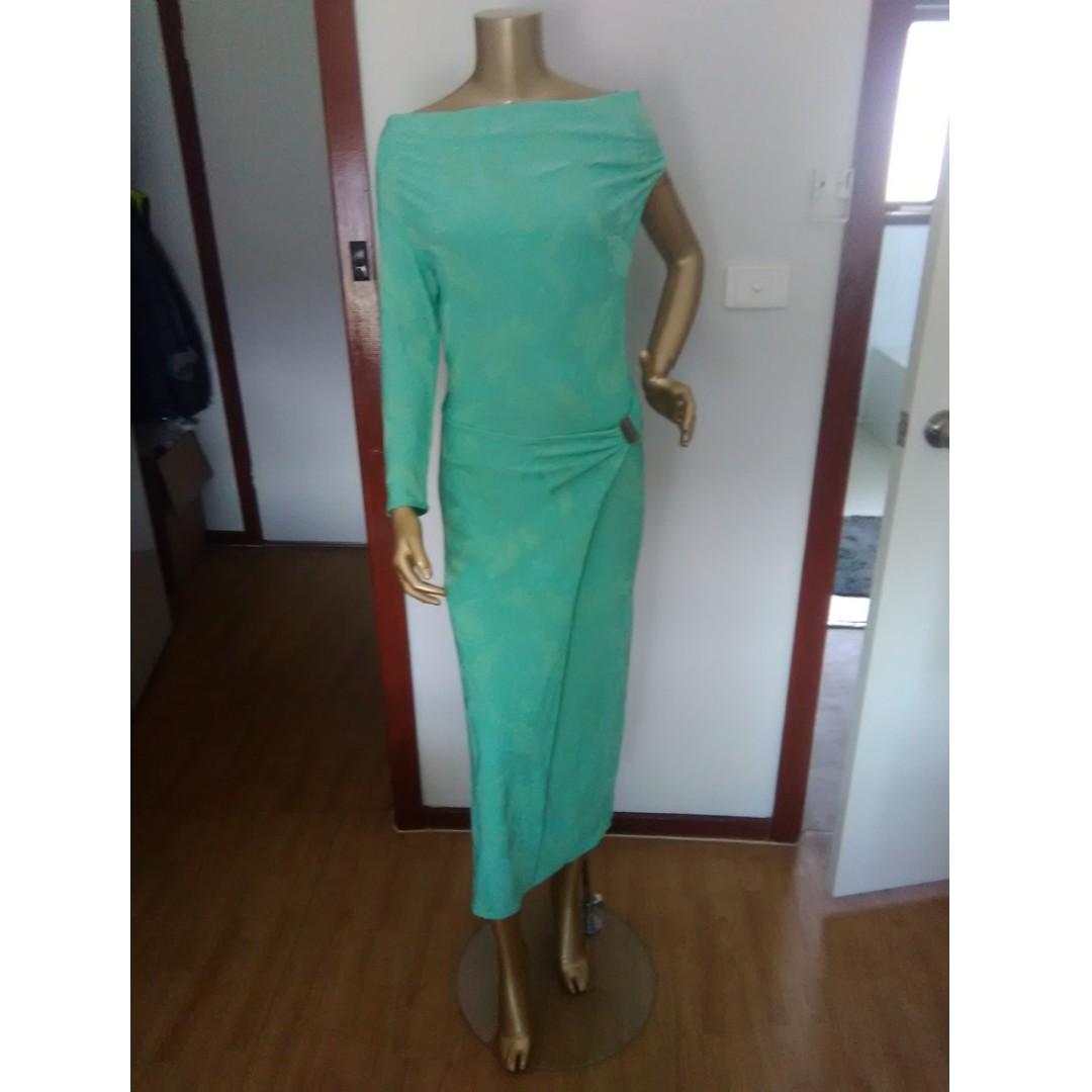 GASP Green One Shoulder Dress Size AUS 8/S