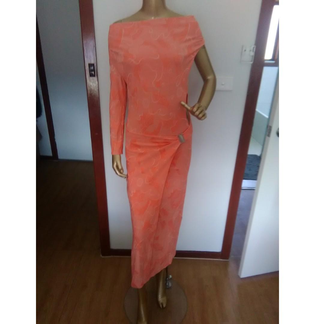 GASP Orange One Shoulder Dress Size AUS 8/S