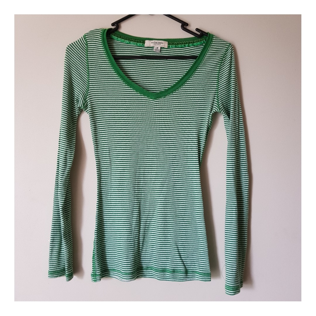 Green Stipey Long Sleeve Active Basic California Shirt