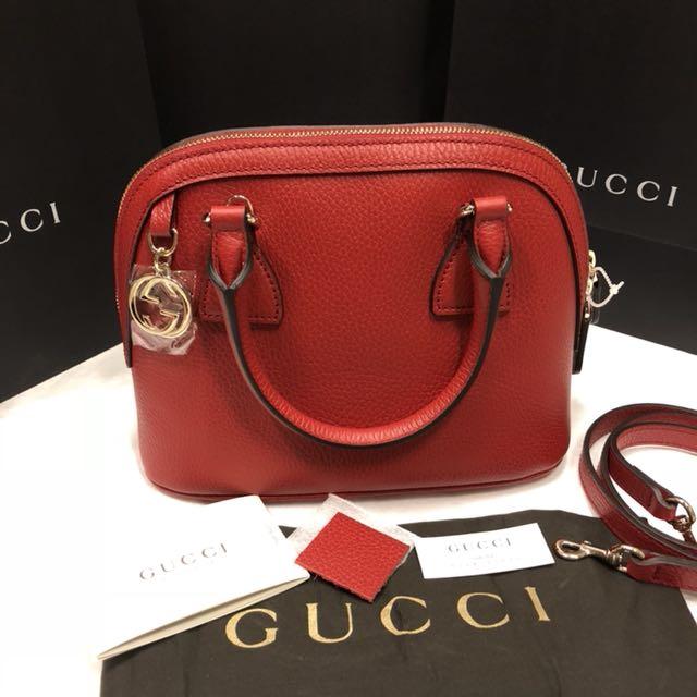 正全新Gucci經典logo吊飾荔枝皮革2用包449661紅色disco斜背包marmont可放長夾