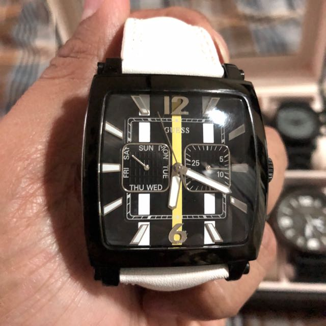 Guess Leather Chronograph Watch