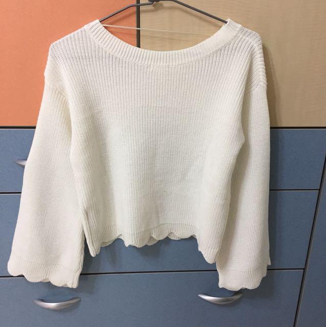 GU白色寬袖針織衣M號