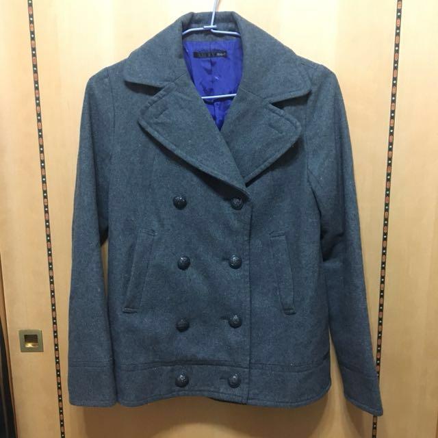 日牌Heather 羊毛50%深灰雙排扣外套