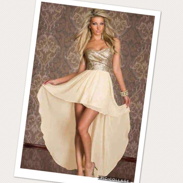 High-low dress - gold
