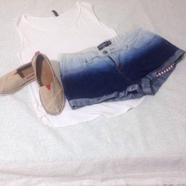 High-waist Ombre shorts