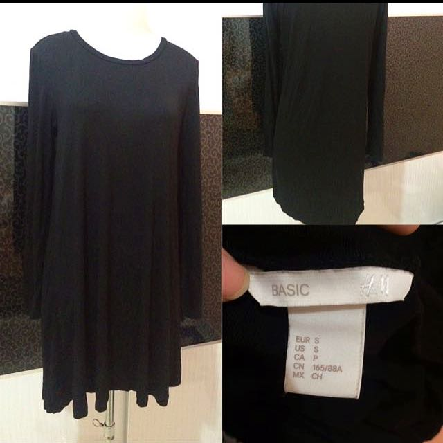 HM black plain dress
