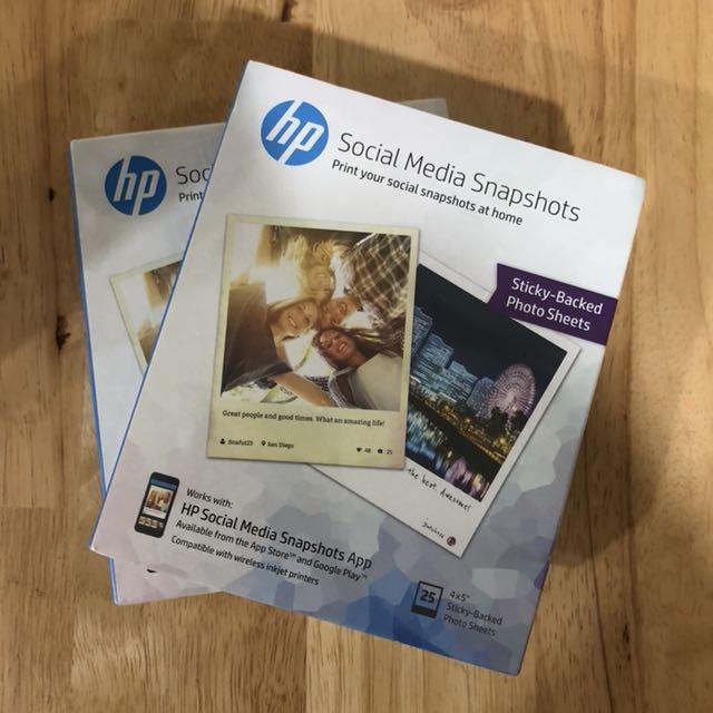 New Hp Social Media Snapshots Sticky Back Photo Paper 25 4 X 5