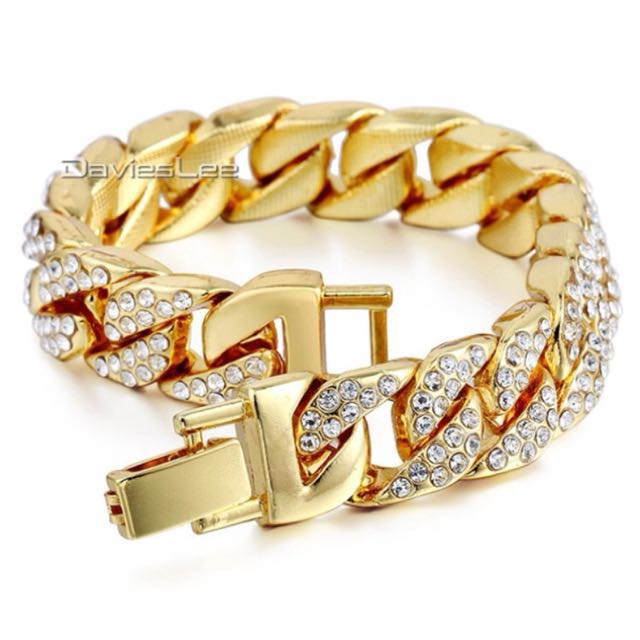 Iced out gold plated bracelet/necklace(FREE SHIPPING ONLY NO PICKUP)