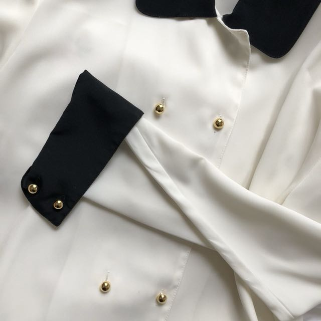 Kavon Black and Cream Blouse with Gold Buttons Chiffon