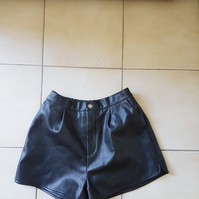Leather look boutique shorts