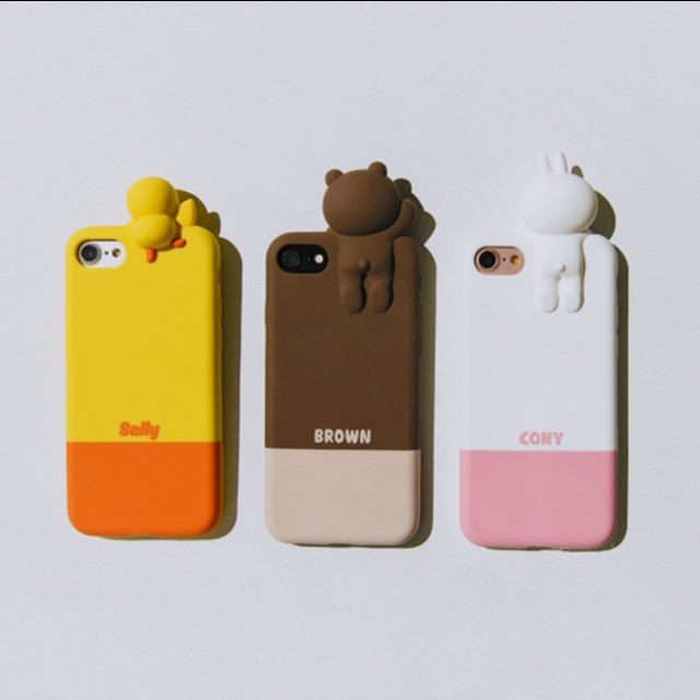 separation shoes f61c6 d9fca line friends sally cony brown bear 3d iphone phone case