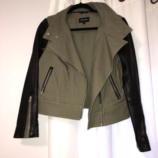 Mackage khaki and black leather jacket size small
