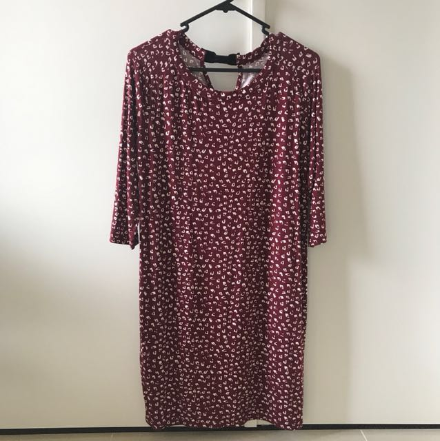 Mango Maroon T-shirt Dress Size XS (fits Size 8)