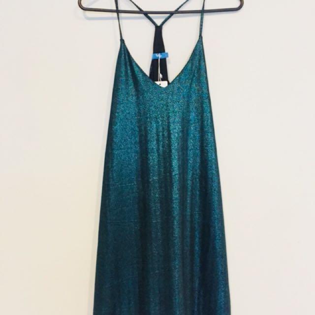 Metallic Green Singlet Dress