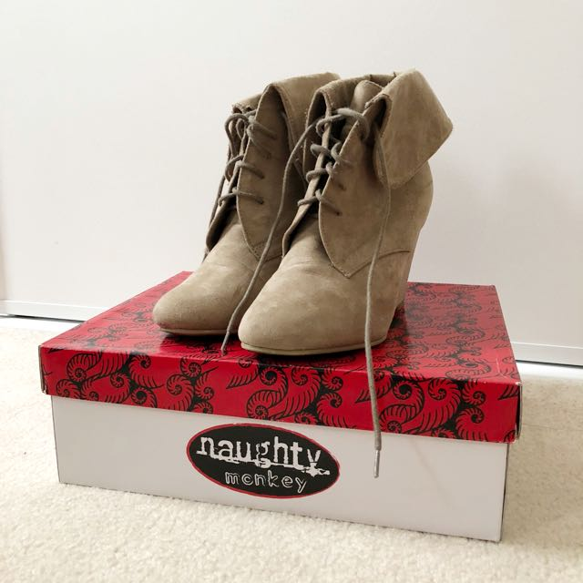 Naughty Monkey Tan Wedges Lace Up Boots Size 7