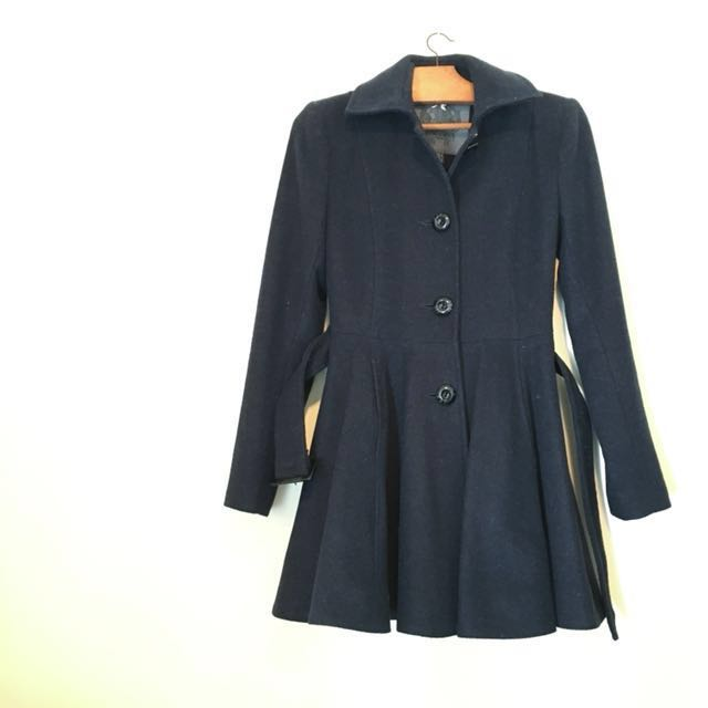 Navy Wool Coat with Belt Forever New