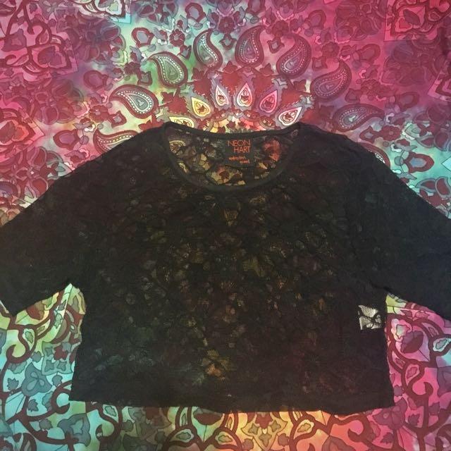 Neon Heart Skulls mesh crop top