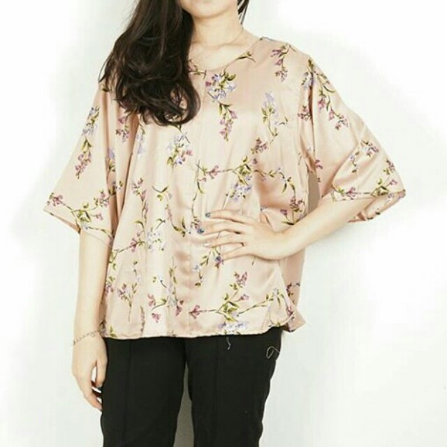 NEW BIG SIZE V NECK FLOWER SATIN TOP