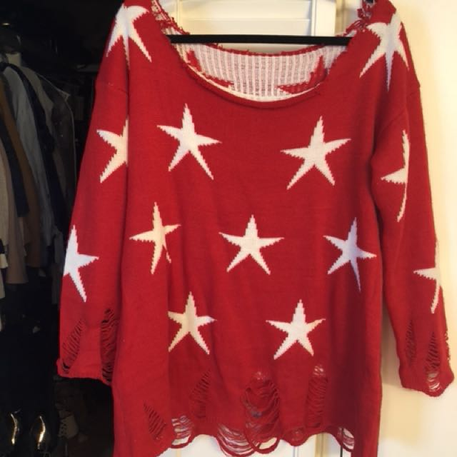 Off the Shoulder Star Sweater