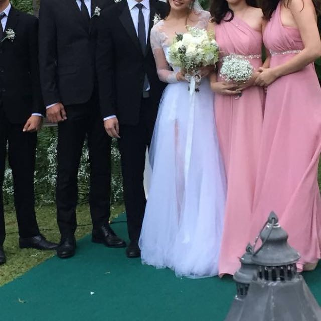 Old rose | light grey| bridesmaid gown |
