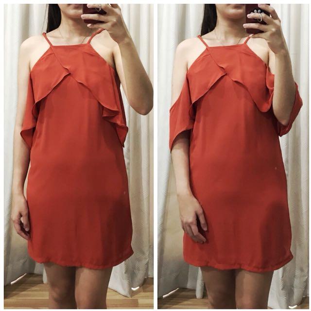 Open shoulder orange dress