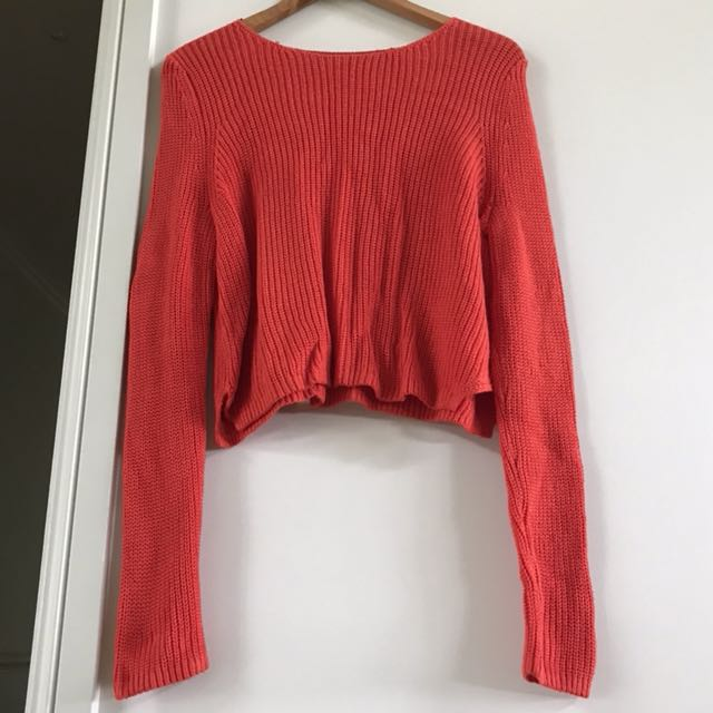 Orange Knitted Crop Jumper