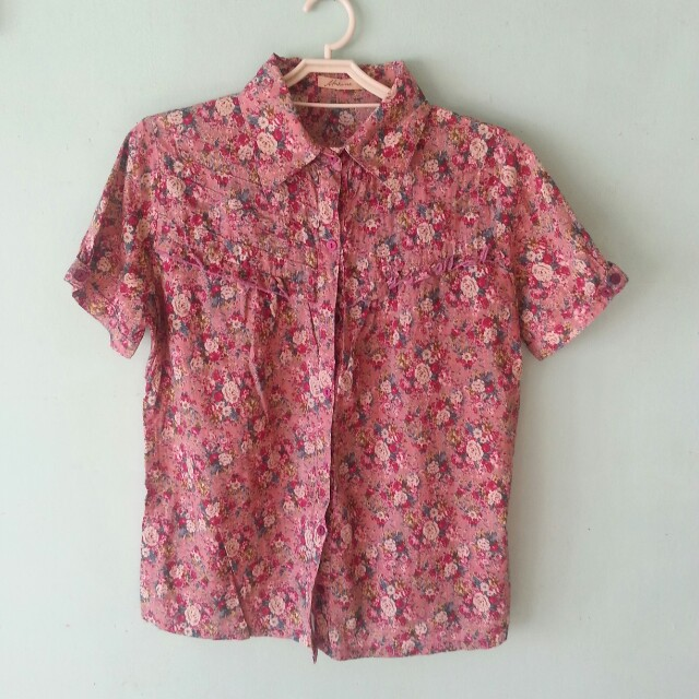 Pink Floral Button Up Top