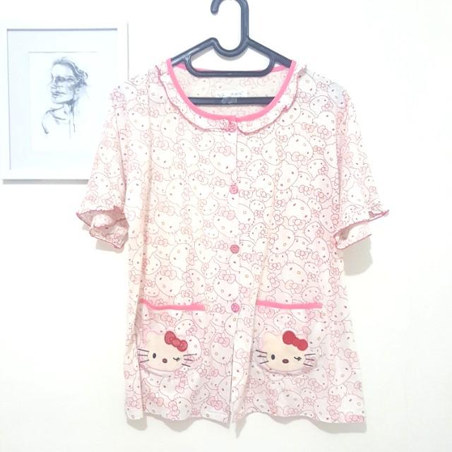 (PRELOVED) 1 set Hello Kitty Pajamas / Piyama / Baju Tidur Pink