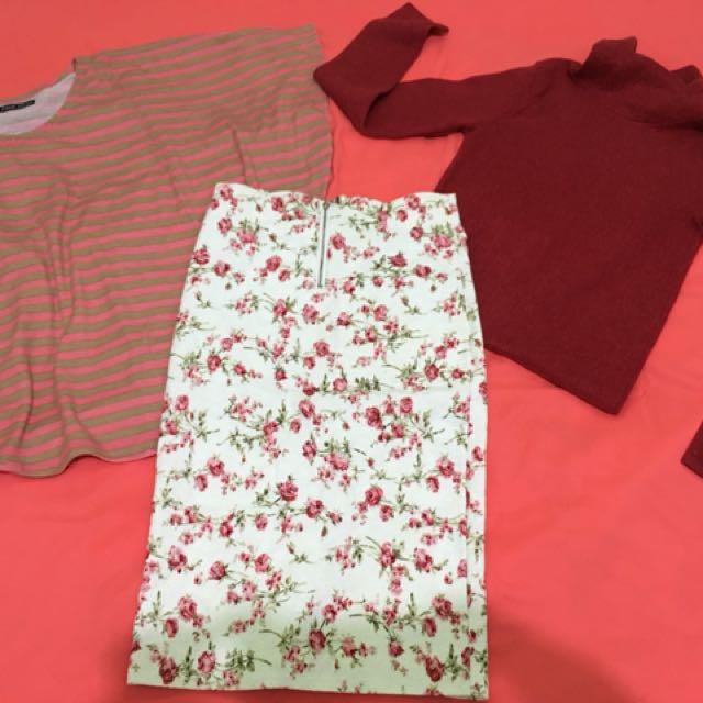 Rok pensil, sweater korea, baju kelelawar