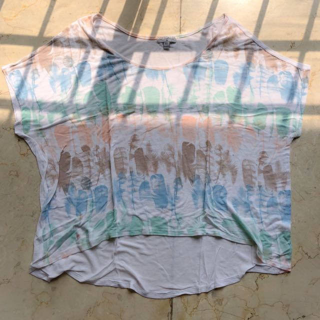 Sheer Feather Printed Top
