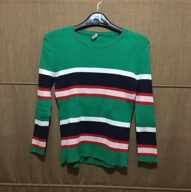 Stradivarius green stripe top