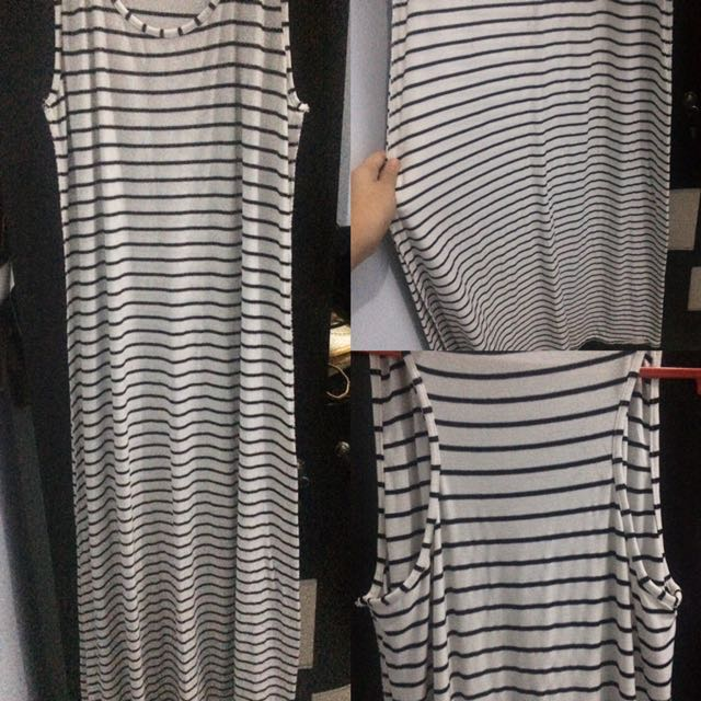 Stripe Black White Longdress